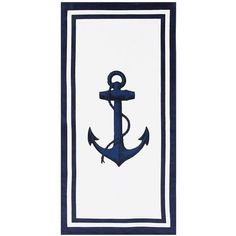 Pottery Barn Anchor Beach Towel ($30) ❤ liked on Polyvore featuring home, bed & bath, bath, beach towels, pottery barn, anchor beach towel, pottery barn beach towels and cotton beach towels