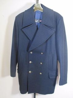 GLOVERALL ENGLAND size 44 NAVY PEA COAT early vintage deadstock  #Gloverall