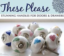 These Please Ceramic China Kitchen Bedroom Door Knobs Handles Cupboard Drawer