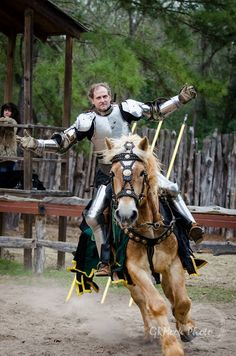 Dustin Stephens on the Belgian jousting horse Sampson, mid-faire competitive jousting tournament, Sherwood Forest Faire 2015  (photo by GRHook Photo)