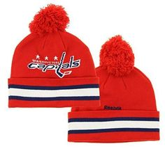 01b8c6500c5 NHL Reebok Washington Capitals Youth Cuffed Knit Winter Hat With Pom