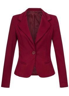 Styleboom Fashion Damen Blazer 2 deko Taschen Schulterpolster 1 Knopf bordeaux - 77onlineshop
