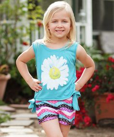 Look what I found on #zulily! Turquoise Daisy Tee & Stripe Shorts - Toddler & Girls #zulilyfinds