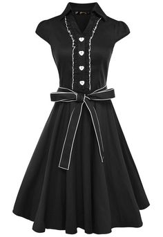 Anni Coco® Women's 1950s Collared Cap Sleeve Bow Belt Swing Vintage Party Dresses Black Small