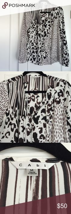 HP Fall Trends Poshlovefest! Easy, flattering style that can be worn to work with a skirt or leggings & pants.  One snap at the V neckline & loose sleeves with one button at the wrist.  100% Polyester.  Can be washed or dry cleaned per the instructions.  Barely worn & in perfect condition! Cabi Tops Blouses