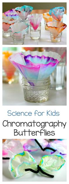 Art and Science for Kids: Explore chromatography using coffee filters and markers! Fun STEM / STEAM activity for children. Turn the results into a butterfly craft- perfect for spring! ~ BuggyandBuddy.com