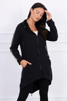 Čierna dámska mikina na zips Nasa, Hooded Jacket, Athletic, Jackets, Fashion, Hooded Bomber Jacket, Down Jackets, Jacket With Hoodie, Moda