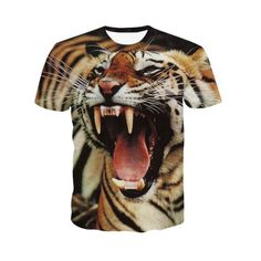 11.85$  Buy here - http://di7c7.justgood.pw/go.php?t=184025703 - 3D Round Neck Fierce Tiger Print Short Sleeve Men's T-Shirt