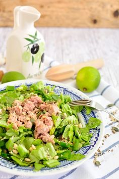 Photo about Green salad with tuna fish, lime and seeds on a plate. Image of spice, green, diet - 96047093 Vegetarian Types, Ovo Vegetarian, Vegetarian Recipes, Fresh Rolls, Vitamins, Food And Drink, Veggies, Healthy Eating, Per Diem