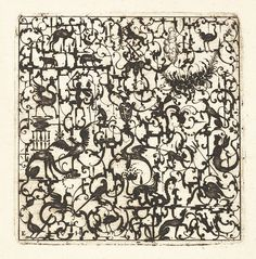 Esaias von Hulsen, Square Blackwork Design in Silhouette Style with Schweifwerk and Grotesque Figures, 1617.