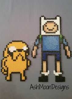 Jake and Finn - Adventure Time Perler Bead Figure by AshMoonDesigns
