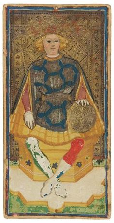 The King of Coins | Visconti-Sforza Tarot Cards | 1450-1480 | Morgan Library & Museum | Museum #: MS M.630 (no. 1)