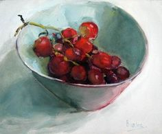Red Grapes 2 Red Grapes 2 by Sharleen Boaden - oil Fruit And Veg, Fruits And Veggies, Still Life Fruit, Red Grapes, Painting Still Life, Beautiful Paintings, Clean Eating Snacks, Lovers Art, Art Day
