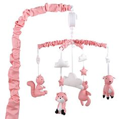Coral Musical Mobile With Forest Animals by The Peanut Sh...
