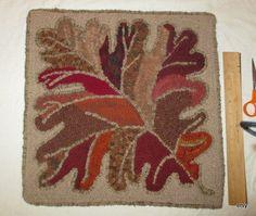 hooked rug     wool  on a linen  foundation  Oak   by marthaweaves
