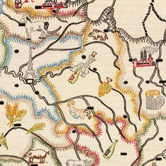 embroidered map of France