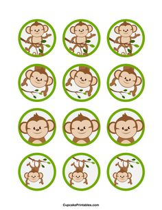 Use the circles for cupcakes, party favor tags, and… Monkey Party Favors, Monkey Birthday Parties, First Birthday Party Themes, Party Favor Tags, Baby Showers, Baby Shower Niño, Shower Bebe, Jungle Party, Safari Party