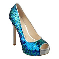 Ooh shiny! Boutique 9 peep toe pump with embellished heel.  5 1/4 heel with 1 1/4 platform