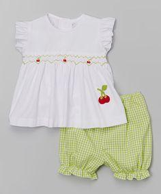 Look at this #zulilyfind! White Crochet Cherry Top & Bloomers - Infant & Toddler by Fantaisie Kids #zulilyfinds