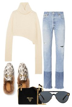"""""""Untitled #453"""" by dulce33 ❤ liked on Polyvore featuring Ann Demeulemeester, RE/DONE, Gucci, Prada and Versace"""