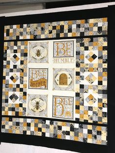 Ye Olde Sweatshop: Bee Joyful Panel & Layer Cake Quilt (Part One) Layer Cake Quilt Patterns, Layer Cake Quilts, Bee Fabric, Cute Quilts, Types Of Embroidery, Panel Quilts, Bee Theme, Patch Quilt, Square Quilt