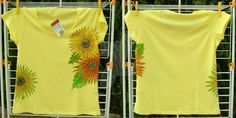 "AVAILABLE ""Yellow summer"" side decoration (both sides) Handpainted t-shirt, textile colours 100% cotton Size L (woman) Colour: light yellow"