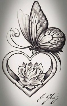 heart shape butterfly tattoo design tattoos tattoos, butterfly - rose and butterfly drawing Kunst Tattoos, Neue Tattoos, Body Art Tattoos, Tattoo Drawings, Arm Tattoos, Tatoos, Garter Tattoos, Skull Tattoos, Tattoo Sketches