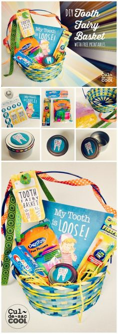 """DIY TOOTH FAIRY BASKET with FREE PRINTABLES from the Children's Book, """"My Tooth is Loose!""""....Move over Easter Bunny. You aren't the only one who can hand out baskets. The Tooth Fairy is in town and she's made an adorable basket that kids will love to have at Easter, for a birthday, for Valentine's Day, to celebrate a lost tooth, to replace a candy-filled basket or just because!"""