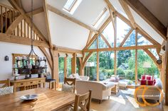 Vaulted oak frame and glazed gable end Barn House Conversion, Oak Framed Extensions, Cottage Extension, Oak Framed Buildings, Oak Frame House, House With Balcony, Barn Kitchen, Oak Bedroom, Timber House