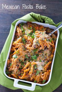 Mexican Pasta Bake - Baked penne loaded with chorizo sausage, black beans, veggies and cheese!