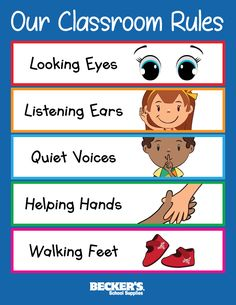 Preschool Classroom Rules – Becker's School Supplies We've put together these tips for introducing rules in your preschool classroom plus a handy printable classroom rules poster. Preschool Classroom Rules, Classroom Rules Poster, Classroom Board, Classroom Behavior, In Kindergarten, Printable Classroom Posters, Classroom Rules Display, Preschool Birthday Board, Toddler Classroom Decorations