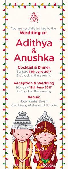 Bengali Wedding Invitation Illustration and Design by SCD Balaji, Indian Illustrator. eCard Einvitation