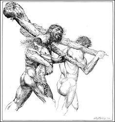 Carried away by giants, illustration by Willy Pogany