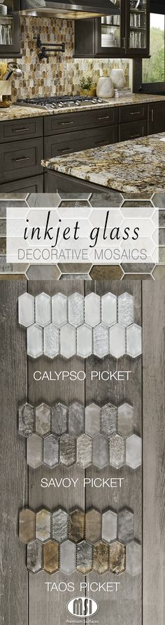 Dress up your kitchen backsplash with one of these stylish new Inkjet Glass decorative mosaics! A mix of frosted and textured glass pieces, each Picket design delivers a realistic natural stone look and a unique take on hexagons.