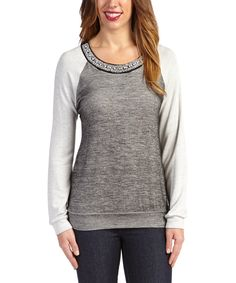 Another great find on #zulily! Peridot Gray Beaded Scoop Neck Top by Peridot #zulilyfinds