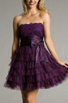 Bateau Bow Tiered Short Short Appliques Strapless Flattering Purple Womens Cocktail Dress