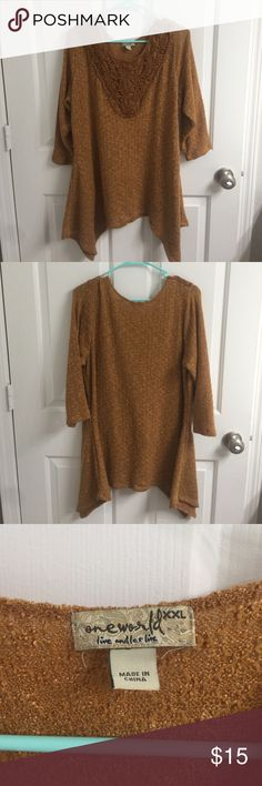 Cute sweater Very cute sweater that does not fit me anymore. Only worn a few times. Been in back of my closet! One of my favorites but I cannot fit it anymore ONE WORLD Sweaters Crew & Scoop Necks