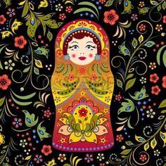 russe: illustration de modèle homogène avec la poupée russe matriochka et fleurs abstraites