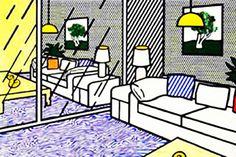 """Wallpaper with Blue Floor Interior"""