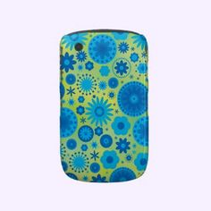 Blue and Turquoise Hippy Flower Pattern Blackberry Cases $39.35