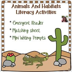Supplement your Animals Habitat unit with this Emergent Reader, Matching Sheet, and Mini Writing Prompts. Ideal for young students just beginning to learn about different animals and their habitats. Good resource for supporting special needs learners