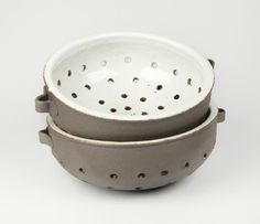 Handmade ceramic colander and berry bowl. Perfect for straining berries and fruit. This beautiful rustic white pottery bowl is both decorative and functional.