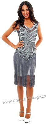 1920s THE SABLE Grey Beaded V Dropped Waist and Fringe Skirt Flapper Dress - S to XL - Unique Vintage - Prom dresses, retro dresses, retro swimsuits.