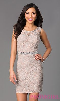 Short Lace Scoop Neck Dress by City Triangles at PromGirl.com