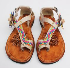 Bone Color Leather Sandals by Calpas on Etsy, $60.00