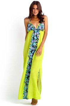0cbc56d326bd Seafolly Martini Maxi Dress - Seafolly Martini Maxi Dress with; Bright  colour block chartreuse Printed