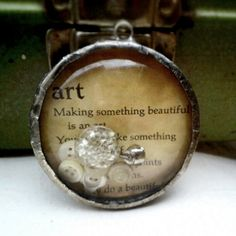 Storybook Charm 12--soldered glass pendant with vintage storybook images.