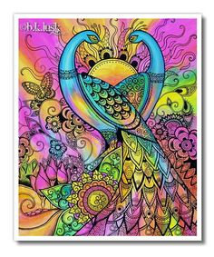 Signed Giclee Peacock Butterfly Print - Bird Pink Psychedelic Purple