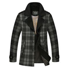 Wool Trench Coat Trench Jacket Plaid Coat Mens Wool Coats Korean Fashion