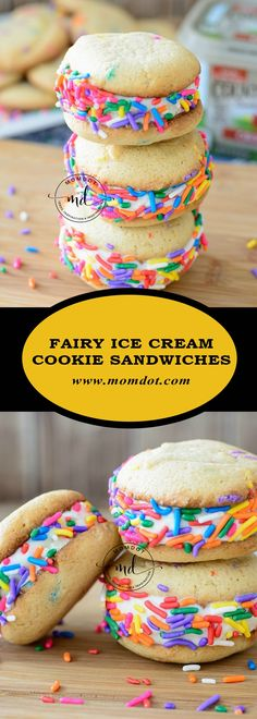 Fairy Ice Cream Cookie Sandwiches Create the perfect cookie recipe with this Basic Make it Yours Cookie recipe Ice Cream Cookie Sandwich, Cookie Sandwiches, Ice Cream Cookies, Mini Desserts, Ice Cream Desserts, Cold Desserts, Cookie Recipes, Dessert Recipes, Best Ice Cream